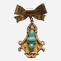 Late Victorian cabochon rolled gold faux turquoise love brooch
