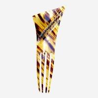 Asymmetric Art Deco hair comb faux tortoiseshell hair ornament