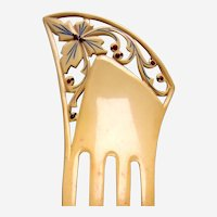 Asymmetric Art Deco hair comb French ivory hair ornament