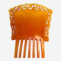 Classic amber celluloid hair comb Victorian hair accessory