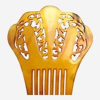 Amber steer horn hair comb Victorian hair accessory