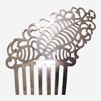 Victorian metal hair comb asymmetric steel hair ornament