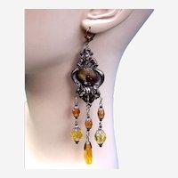Vintage Czech earrings art glass dangle beaded chandelier style for pierced ears (AAF)