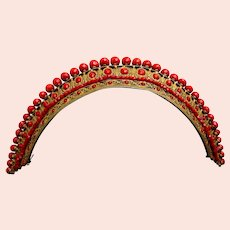 Regency tiara ornament fire gilt openwork with coral beads (AAC)
