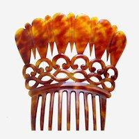 Large Victorian hair comb steer horn mantilla style headdress