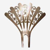 Late Victorian hair comb pierced metal fan shape hair accessory