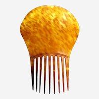 Early American hair comb clarified steer horn hair accessory