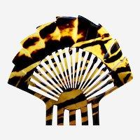 Art Deco fan shape hair comb faux tortoiseshell hair ornament