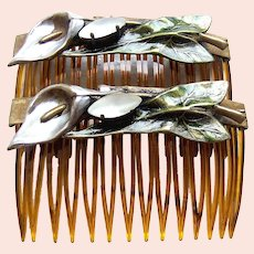 Pair or mid century side hair combs with leaf design