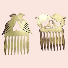 Two brass comb makers' templates or guides