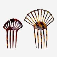 Two faux tortoiseshell hair combs sunray design