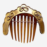 Mid Victorian hair comb hinged brass hair ornament