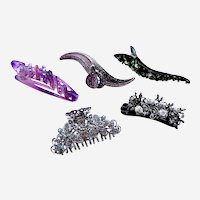 Five 1980s rhinestone hair clamps claws or hair clips