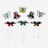 Eight 1980s butterfly mini hair clip hair clamp or claw accessories