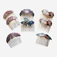 Eight cloisonné hair combs vintage 1980s hair accessories