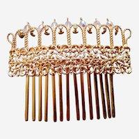 Elaborate 1980s hair comb Czech rhinestone hair accessory