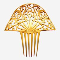 Large Art Deco French ivory Spanish hair comb accessory