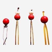 Four vintage Japanese kanzashi ball topped hair pins faux coral
