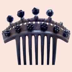 Victorian French jet mourning hair comb AS FOUND