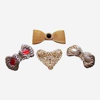 Four bow themes hair barrettes 1980s glitzy hair accessories