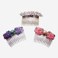 Three vintage Hollywood Regency hair combs mid century hair ornaments
