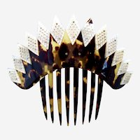 Mid Victorian hinged hair comb mother of pearl tortoiseshell