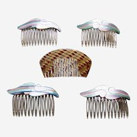 Five abstract optical illusion hair combs 1960s hair accessories