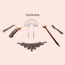 Collection of mid century rhinestone hair accessories 7 pieces