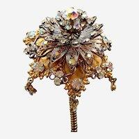 Vintage trembler headdress rhinestone flower aigrette hair ornament