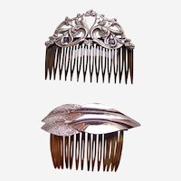 Two mid century Hollywood Regency style hair comb accessories