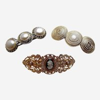 Three hair barrettes good quality 1980s metallic hair accessories (AAB)