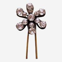 Edwardian rhinestone hair pin flower shaped hair accessory