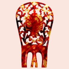 Spanish style hair comb in celluloid faux tortoiseshell hair ornament