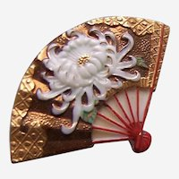 Vintage Japanese kanzashi fan shaped hair pin ornament