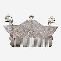 Indian Perfume Comb or Beard Comb, Silver, Rajasthan 19th Century