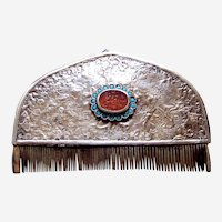 Ethnic Turkmenistan vanity or dressing comb with turquoise and glass stones