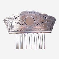 Victorian silver hair comb aesthetic movement engraved hair ornament