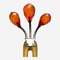 Late Victorian hair comb three branch amber hair accessory