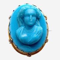Victorian blue glass cameo brooch figural female portrait