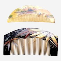 Vintage Oriental hair combs bamboo design hair accessory