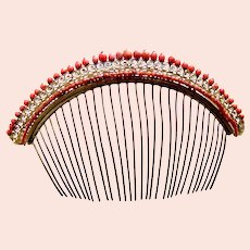 Regency tiara hair comb with faceted coral beads hair ornament