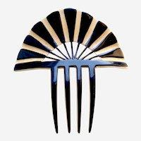 Parti colored Art Deco sunray design celluloid hair comb