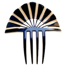 Parti colored Art Deco sunray design celluloid hair comb