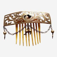 Victorian polished brass tiara hair comb Moorish hair ornament