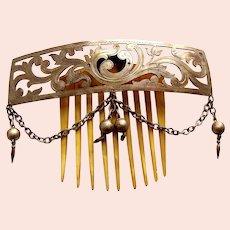 Victorian polished brass tiara hair comb Moorish hair ornament