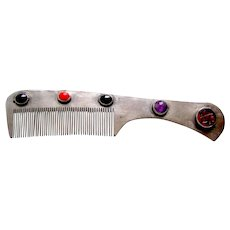 Ethnic Turkmenistan vanity or dressing comb with coloured staones