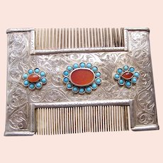 Ethnic Turkmenistan vanity or dressing comb with turquoise and carnelian