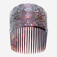 Chinese export natural tortoiseshell hair comb Spanish style