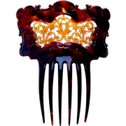 Late Victorian faux tortoiseshell hair comb Spanish style ornament