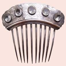 Victorian silver hair comb with five faceted crystals